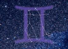 Constelación del zodiaco de los géminis Fotografía de archivo