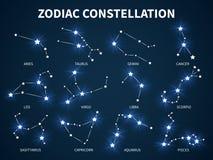 Constelaci?n del zodiaco Símbolos místicos zodiacales del vector de la astrología con las estrellas que brillan intensamente en f ilustración del vector