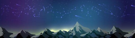 Constelaciones de la estrella sobre las montañas en el panorama del cielo nocturno - V ilustración del vector
