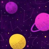 Constelaciones de la vía láctea de los planetas y de las estrellas de la galaxia del espacio del cosmos de universo libre illustration