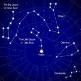 Constelaciones del hemisferio norte ilustración del vector