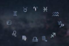 Constelaciones del zodiaco Muestras del zodiaco Muestras del zodiaco Imágenes de archivo libres de regalías
