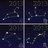 Constellatie van leo, virgo, libra, scorpius Stock Foto's