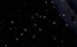 Constellatie van Pauw in de linker en Zuidelijke Driehoek in Th Stock Foto