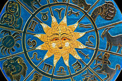 Constellation. Zodiac signs in circle with golden sun Stock Image