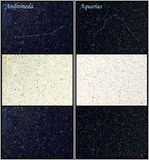 Constellation Andromeda Aquarius. Universe / Space astronomy illustration: Andromeda and Aquarius (Water-carrier) constellations. For each constellation three Royalty Free Stock Photo