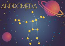 The constellation Andromeda. Bright image of the constellation Andromeda. Kids who are fond of astronomy will like it very much Vector Illustration