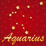 Constellation Aquarius over red starry background. Illustration Royalty Free Stock Photography
