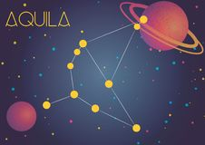 The constellation Aquila. Bright image of the constellation Aquila. Kids who are fond of astronomy will like it very much Vector Illustration