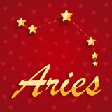 Constellation Aries over red starry background. Illustration Stock Image