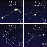 Constellation Aries, Taurus, Gemini, Cancer Stock Images
