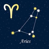 Constellation Aries zodiac horoscope astrology stars night illus. Tration vector Royalty Free Stock Photos