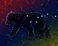 Constellation of big dipper. Illustration. Constellation of big dipper is in space, on a background dark sky with stars Stock Photography