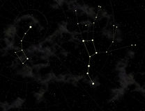 Constellation of Big and Small Dipper. Star map of sky. Constellation of Big Dipper, located not far from the Little dipper in the North hemisphere of sky. Makes Royalty Free Stock Images