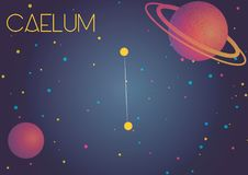 The constellation Caelum. Bright image of the constellation Caelum. Kids who are fond of astronomy will like it very much Vector Illustration