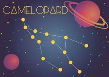 The constellation Camelopardalis. Bright image of the constellation Camelopardalis. Kids who are fond of astronomy will like it very much Vector Illustration