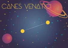 The constellation Canes Venatici. Bright image of the constellation Canes Venatici. Kids who are fond of astronomy will like it very much royalty free illustration