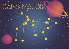 The constellation Canis Major. Bright image of the constellation Canis Major. Kids who are fond of astronomy will like it very much Stock Illustration