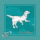 The constellation Canis Major star in the night sky. With the dog silhouette. Vector illustration Royalty Free Stock Images