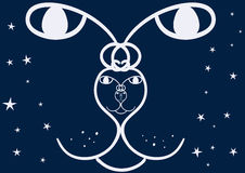 Constellation cat endless face with stars. Vector EPS 8 Royalty Free Stock Photo