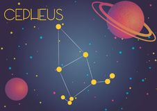 The constellation Cepheus. Bright image of the constellation Cepheus. Kids who are fond of astronomy will like it very much Vector Illustration
