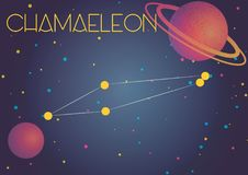 The constellation Chamaeleon. Bright image of the constellation Chamaeleon. Kids who are fond of astronomy will like it very much Royalty Free Illustration
