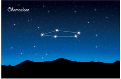 Constellation of Chamaeleon. Vector Constellation of Chamaeleon in deep space. Glowing stars, blue background zodiac Stock Photos