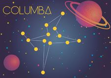 The constellation Columba. Bright image of the constellation Columba. Kids who are fond of astronomy will like it very much royalty free illustration