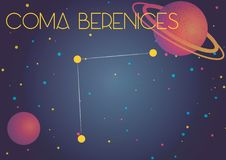 The constellation Coma Berenices. Bright image of the constellation Coma Berenices. Kids who are fond of astronomy will like it very much Vector Illustration