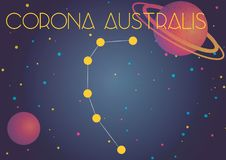 The constellation Corona Australis. Bright image of the constellation Corona Australis. Kids who are fond of astronomy will like it very much royalty free illustration