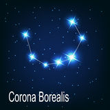 The constellation Corona Borealis star in the. Night sky. Vector illustration Royalty Free Stock Photos