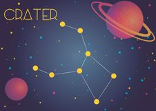 The constellation Crater. Bright image of the constellation Crater. Kids who are fond of astronomy will like it very much Vector Illustration