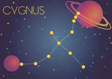 The constellation Cygnus. Bright image of the constellation Cygnus. Kids who are fond of astronomy will like it very much Royalty Free Illustration
