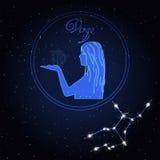 Constellation d'astrologie de Vierge du zodiaque Images libres de droits