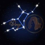 Constellation d'astrologie de Vierge du zodiaque Image libre de droits