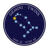 Constellation de zodiaque de Gémeaux dans l'espace Vecteur mignon de style de bande dessinée illustration stock