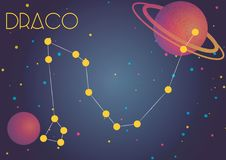 The constellation Draco. Bright image of the constellation Draco. Kids who are fond of astronomy will like it very much Stock Illustration