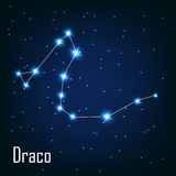 The constellation  Draco star in the night sky. Vector illustration Stock Images