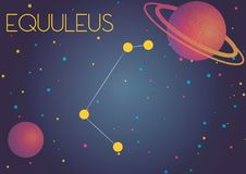 The constellation Equuleus. Bright image of the constellation Equuleus. Kids who are fond of astronomy will like it very much vector illustration