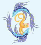 Constellation of fish and star cat. Illustration. Vector Stock Image
