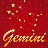 Constellation Gemini over red starry background. Illustration Stock Photos