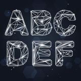 Constellation Geometric Font A-F Royalty Free Stock Images