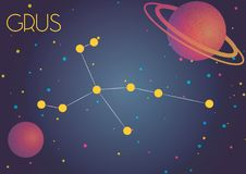 The constellation Grus. Bright image of the constellation Grus. Kids who are fond of astronomy will like it very much royalty free illustration