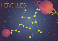 The constellation Hercules. Bright image of the constellation Hercules. Kids who are fond of astronomy will like it very much Stock Illustration