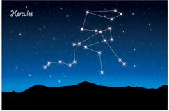 Constellation of Hercules. Vector Constellation of Hercules in deep space. Glowing stars, blue background zodiac Stock Illustration