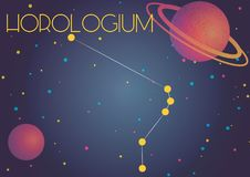 The constellation Horologium. Bright image of the constellation Horologium. Kids who are fond of astronomy will like it very much royalty free illustration