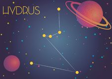 The constellation Hydrus. Bright image of the constellation Hydrus. Kids who are fond of astronomy will like it very much stock illustration