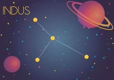 The constellation Indus. Bright image of the constellation Indus. Kids who are fond of astronomy will like it very much Royalty Free Illustration