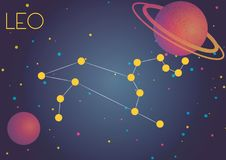 The constellation Leo. Bright image of the constellation Leo. Kids who are fond of astronomy will like it very much Vector Illustration