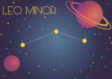 The constellation Leo Minor. Bright image of the constellation Leo Minor. Kids who are fond of astronomy will like it very much vector illustration